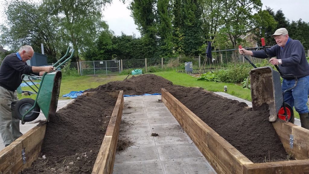 Completing the  Raised Beds at Talke Road our Volunteers making it happen!