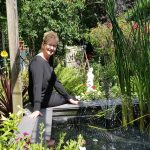CHRON - Mrs Redhead enjoys her ornamental pond